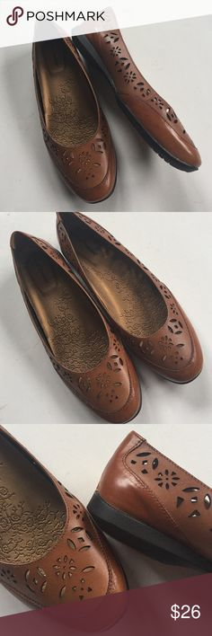 NWOT Hush Puppies leather shoes New without tags; Super cute brown laser cut leather; really comfy! Smoke-free/pet-free home. Hush Puppies Shoes
