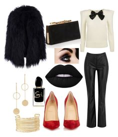 """""""Glam in the winter 💋"""" by yummycaramel on Polyvore featuring Christian Louboutin, Jimmy Choo, Cloverpost, Giorgio Armani and Charlotte Russe"""