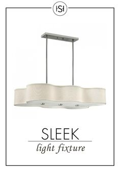 Enjoy this sleek light fixture above your dining room table or kitchen island or even in your living room. The unique curves around the perimeter of the shade make this piece stunning.