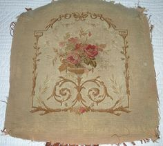 Antique seat cover, petit point.