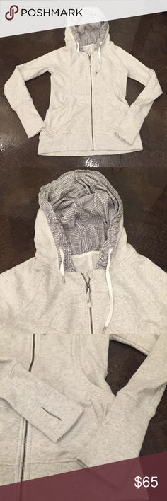Lululemon Light Gray Warm Hooded Zip Up Jacket Top Lululemon Light Gray Warm Hooded Zip Up Jacket with an awesome pattern in the hood. Nice open pockets and thumbholes in the sleeves. Very clean and cute. Size 8 in great condition lululemon athletica Jackets & Coats Utility Jackets