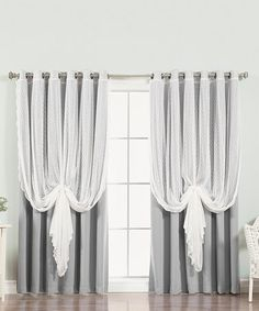 Loving this Gray Dotted Tulle Lace Blackout Curtain Panel - Set of Two on #zulily! #zulilyfinds
