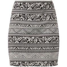 Black Aztec Palm Tree Print Tube Skirt (€8,43) ❤ liked on Polyvore featuring skirts, bottoms, saias, faldas, aztec print skirt, black print skirt, elastic waist skirt, print skirt e black tube skirt