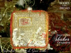 "Uniquely Grace: Stunning Glass Book Page Shaker Ornaments made from ""The Hobbit"" and ""The Adventures of Tom Sawyer"""