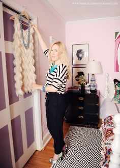 Black dresser..pink walls..girly chic