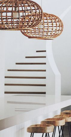 I am happy to say I have a new lighting obsession. The more and more I see cane, wicker, woven Abaca, and rattan basket lighting, the more I find myself trying to figure out how… Wicker, Decor, Pendant Light Fixtures, House Design, Interior Inspiration, Interior, Wicker Decor, Stools For Kitchen Island, House Interior