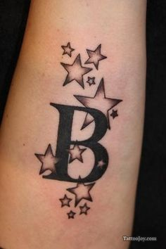 "B letter and stars tattoo- I would of course change it to ""J"""