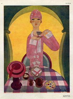 Art Deco Tea Drinking 1926 Spain