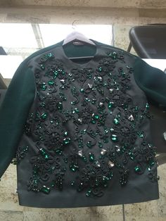 Rochas Embroided Emerald Green Mikado Cashmere Sweater RRP$2500 BNWT 40EU 6US | eBay