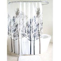 Forest PEVA Shower Curtain in Grey - BedBathandBeyond.com