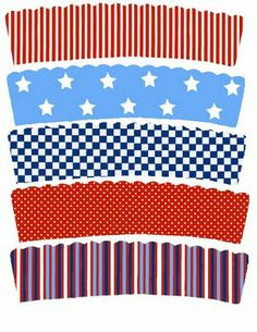 lots of free printable cupcake liners for 4th of July, Birthday, Superbowl and more!