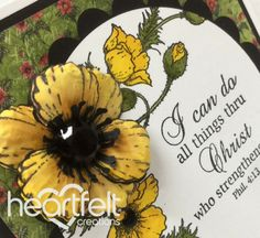 Inspirational Yellow Poppies Square Card, Rubber Stamping, Copic Markers, Card Sizes, Poppies, Inspirational, Yellow, Gallery, Inspiration