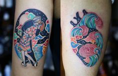 Such gorgeous colours Unique Tattoos, Beautiful Tattoos, Small Tattoos, Couple Tattoos, Tattoos For Guys, Tattoos For Women, Art Et Illustration, Illustrations, Body Art Tattoos