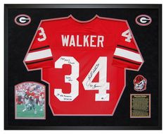 Herschel Walker Georgia Bulldogs Custom Framed Autographed Jersey with Stats. Will make an incredible statement in any Office, Fan Room, Man Cave or DAWG House! #HerschelWalker #GeorgiaBulldogs #UGA #SportsMemorabilia #Autographs #ManCave #ShadowBox #GiftsForHim #ChristmasGifts