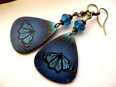 Blue Monarch  Guitar Pick Earrings by SandysTreasureIsland on Etsy, $8.00