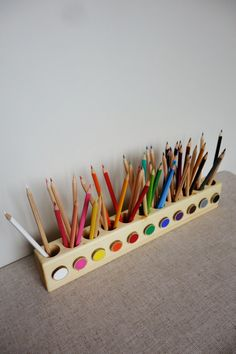 This our 2nd version of pencil holder. We made it when we saw the need for one on the second floor at our house. So we wanted to make a little bit