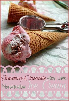 Strawberry Cheesecake-Key Lime Marshmallow Ice Cream | pastrychefonline.com | New ice cream flavors (almost) every Tuesday!