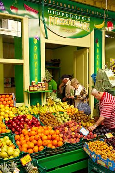 The Food Market, Ermoupolis, Syros Island, Greece. Fruit And Veg, Fruits And Vegetables, Syros Greece, Honfleur, Fruit Picture, Fruit Shop, Greek Recipes, Greek Islands, Farmers Market