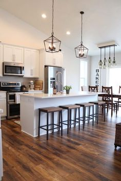 Modern Farmhouse Kitchen Reveal - SUGAR MAPLE notes Modern Farmhouse Kitchen Rustic Flooring - Farmhouse flooring in kitchen - laminate flooring ideas - laminate floors for farmhouse - rustic laminate floors - budget laminate floors kitchen Modern Farmhouse Kitchens, Farmhouse Kitchen Decor, Home Decor Kitchen, New Kitchen, Farmhouse Style, Rustic Farmhouse, Kitchen Ideas, Kitchen Modern, Kitchen Wood