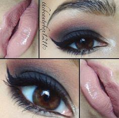 Smokey eye. I love nude lips!