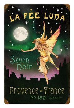 Vintage Metal Sign La Fee Luna