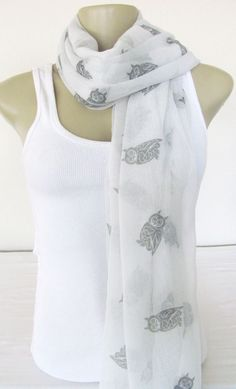 Manhattan Scarf Co. - Owl Sheer Infinity Scarf - This exact pattern but Grey sheer fabric with white Owls - Kohl's - Original Price 28 Dollars - Sale Price 7.20