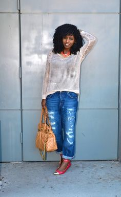 Linen Perforated Blouse + Ripped Boyfriend Jeans | Style Pantry