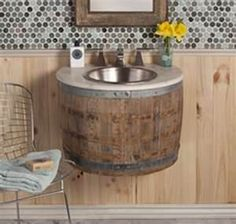 repurpose old furniture - Bing Images~ old barrel reposed into sink