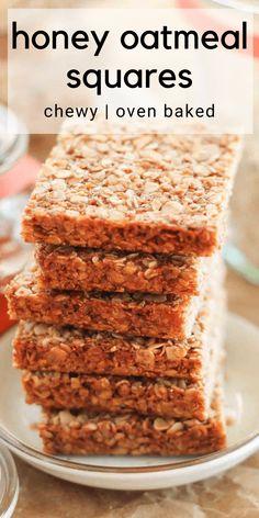 Homemade Oatmeal Bars, Oatmeal Bars Healthy, No Bake Oatmeal Bars, No Bake Granola Bars, Oatmeal Breakfast Bars, Chewy Granola Bars, Baked Oatmeal Recipes, Baked Oats, Oatmeal Honey Cookies
