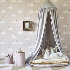 Elegant swans feature on this stunning pale rose wallpaper. Perfect wallpaper for a stylish nursery or little girl's bedroom. Swan Wallpaper, Neutral Wallpaper, Wallpaper Direct, Wallpaper Online, Childrens Bedroom Wallpaper, Kids Room Wallpaper, Little Girl Bedrooms, Girls Bedroom, Crown And Cushion