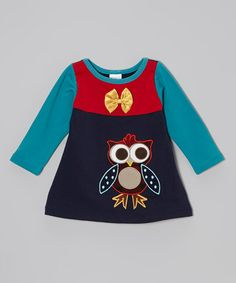 Another great find on #zulily! Navy & Light Blue Owl Dress - Toddler & Girls by the Silly Sissy #zulilyfinds