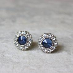 Sapphire Earrings Blue Wedding Jewelry Blue Earrings Crystal...
