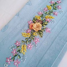 Wonderful Ribbon Embroidery Flowers by Hand Ideas. Enchanting Ribbon Embroidery Flowers by Hand Ideas. Ribbon Embroidery Tutorial, Hand Embroidery Dress, Silk Ribbon Embroidery, Hand Embroidery Patterns, Embroidery Kits, Floral Embroidery, Cross Stitch Embroidery, Band Kunst, Cross Stitch Floss