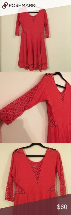 Free People Bright red cutout dress! Bright red Free People Dress. Worn once! Great twirl! Fun with a little bit of skin! Make me an offer! Free People Dresses Long Sleeve