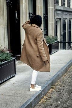 white jeans + sneakers + camel coat #streetstyle