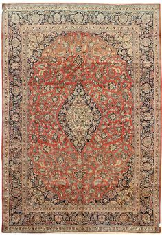 Other Antique Formal Rugs Gallery: Antique Kashan Rug, Hand-knotted in Persia; size: 9 feet 1 inch(es) x 12 feet 5 inch(es)