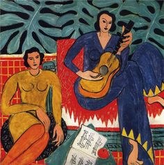 Music, 1939, oil on canvas, 115 x 115 cm. Albright Knox Art Gallery, Buffalo, NY, USA.  Fauvism, Henri Matisse (1869 - 1954).