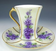 LIMOGES FRANCE HAND PAINTED VIOLETS CHOCOLATE COFFEE TEA CUP SAUCER in Pottery & Glass, Pottery & China, China & Dinnerware | eBay