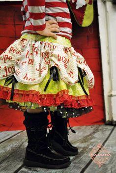 Possibility for Eden. Girls Christmas twirly skirt hope peace love. $49.00, via Etsy.