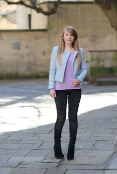 Pastel Blue Leather Zara Jacket http://raindropsofsapphire.com/2014/03/19/the-zara-pastel-blue-leather-jacket/