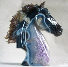 Agate Crystal Horse Head.   THIS. IS. GORGEOUS.   I'm speechless. It's just so beautiful.