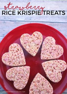 Strawberry Valentine Rice Krispie Treats - valentine's day recipe