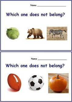 Which One Does Not Belong? Autism & Special Needs Worksheets. For more resources follow http://www.pinterest.com/angelajuvic/my-tpt-store/