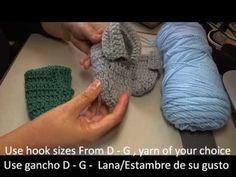 How to crochet baby slippers / Booties - Crochet pantuflas de bebe Tambien en Espanol
