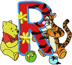 Winnie Pooh and Tiger painting Alphabet Letter R machine embroidery design