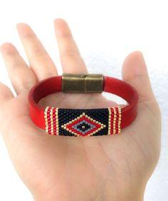 Miyuki beaded bracelet with red leather cord, miyuki bracelet for women, miyuki beaded bracelet, lea
