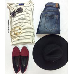 This striped tee is sooo cute!!! Love it paired with burgundy accents! Tee $35 | Hat $28 www.sexymodest.com #modestfashion #sexymodestboutique #smbboutique