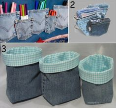 diy regained jeans pocket pen bags