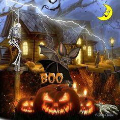 Boo! halloween happy halloween halloween gif animated halloween black cat pumpkin jack-o-lantern trick or treat
