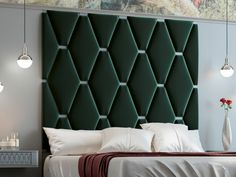 Complete bed with large lacquered headboard with upholstered central part. Bed Headboard Design, Bedroom Bed Design, Headboards For Beds, Bed Furniture, Furniture Design, Modern Platform Bed, Bed Base, Bed Storage, How To Make Bed